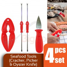 4 Piece Set Seafood Tools Crab Cracker Oyster Knife Crab Fork Lobster Pin Shellfish Picks Needle [GYT-400]
