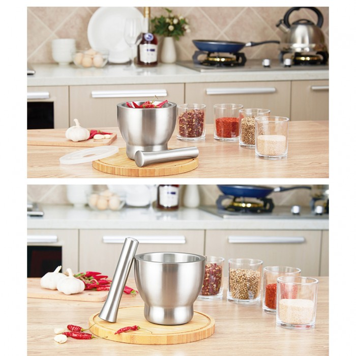 Kitchen Spills: Kitchen Mortar And Pestle Grinder 304 Stainless Steel With