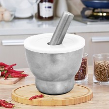 Kitchen Mortar and Pestle Grinder 304 Stainless Steel with Anti Spill Lid [MP-S304]