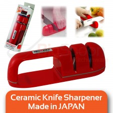 NEOKIREX 2-in-1 Ceramics Sharpener with Double Grindstone for Knives and Scissors CT-12R (Red)