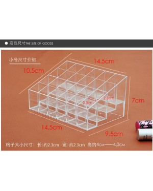 24-Slot Clear Acrylic Lipstick Display Holder Stand Cosmetic Organizer Rack Storage Make Up Box Case Container