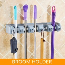 5-Slot 6-Hook Mop and Broom Holder Hanger Storage Organizer Wall Mounted Kitchen Garden Lawn Rake Pemegang Mop Penyapu