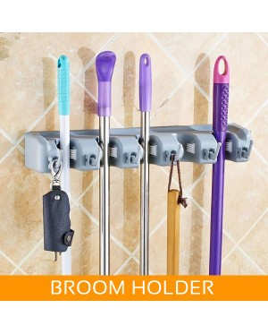 5-Slot 6-Hook Mop and Broom Holder Hanger Storage Organizer Wall Mounted