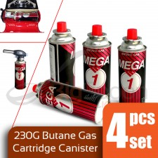 MEGA ONE 4-Pcs Set Butane Gas Cartridge Canister For Portable Gas Stove 230g