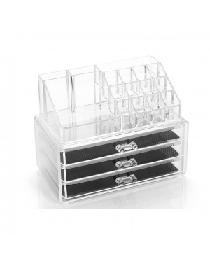 3-Drawer 3-Tier Layers Clear Acrylic Cosmetic Rack Organizer Jewelry Make Up Case Container Lipstick Display Holder Stand Makeup Brushes and Sets Eyeshadow Moisturizers Nail Polish Storage Box