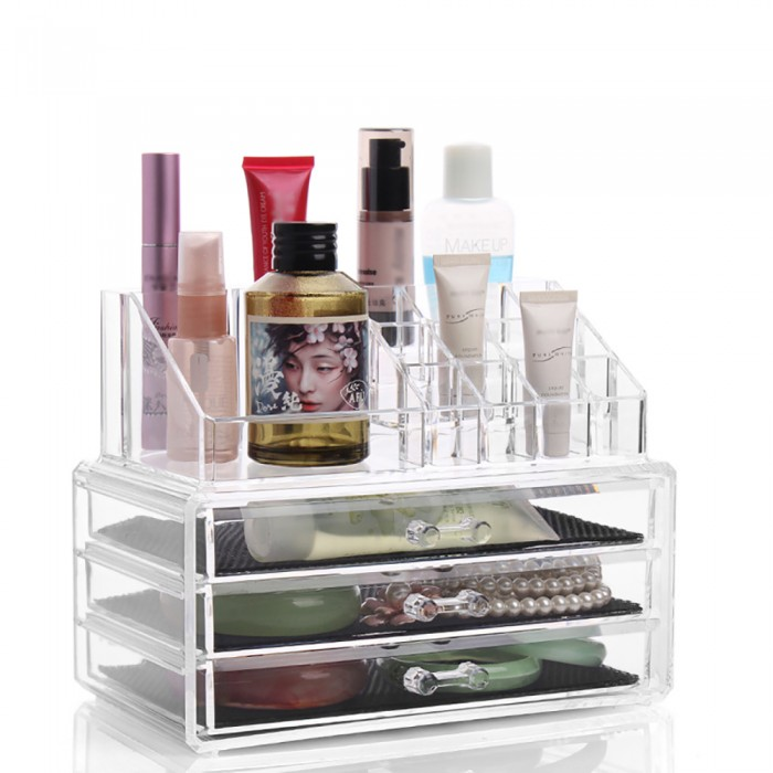 3 Drawer Tier Layers Clear Acrylic Cosmetic Rack Organizer Jewelry Make Up Case Container Lipstick Display Holder Stand Makeup Brushes And Sets Eyeshadow