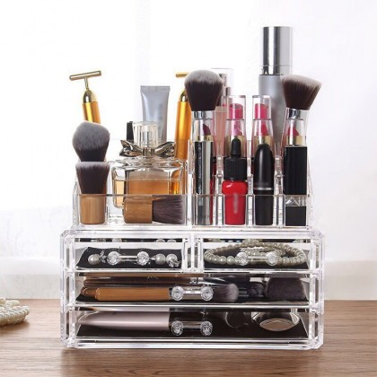 4-Drawer 3-Tier Layers Clear Acrylic Cosmetic Rack Organizer Jewelry Make Up Case Container Lipstick Display Holder Stand Makeup Brushes and Sets Eyeshadow Moisturizers Nail Polish Storage Box