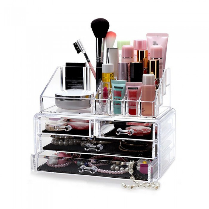 4Drawer 3Tier Layers Clear Acrylic Cosmetic Rack Organizer Jewelry