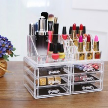 6-Drawer 3-Tier Layers Clear Acrylic Cosmetic Rack Organizer Jewelry Make Up Case Container Lipstick Display Holder Stand Makeup Brushes and Sets Eyeshadow Moisturizers Nail Polish Storage Box