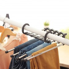 5-Slot Multipurpose Foldable Magic Pants Hanger Jeans Storage Organizer Space Saver