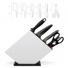 Exclusive Premium Quality 7-Pcs Knife Set Ultra Sharp Stainless Steel Kitchen Knives Block Holder Stand Organizer Shear Scissor Sharpener Sharpening Rod
