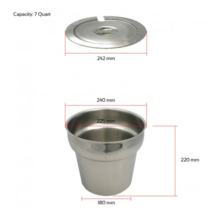 Stainless steel soup tureen chafing dish buffet soup station warmer catering serving set 7QT