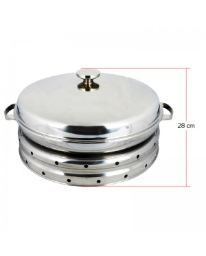 Stainless Steel Large Malay Dome Set Food Warmer Round Chafing Dish Buffet Chafer Serving with Porcelain Dishes for Kenduri Dinner 52cm