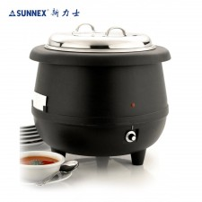 [Original] SUNNEX Heavy Duty Electric Soup Warmer 10L with Stainless Steel Cover c/w S/Steel Ladle Hook Handle for Banquet Food Service Model 81328-7