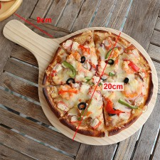 Solid Wood Round Pizza Peel Paddle Bread Cupcakes Serving Tray Serve Board Breakfast Lunch Dinner Food Server Plate 20cm