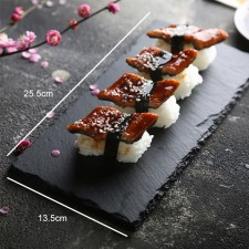 BIGSPOON Rectangular Natural Stone Serving Plate Board 25.5x13.5cm Black Slate Cheese Tray Food Server with Anti-Scratch Foam Bumpers Stand