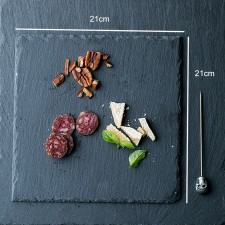 BIGSPOON Square Natural Stone Serving Plate Board 21cm Black Slate Cheese Tray Food Server with Anti-Scratch Foam Bumpers Stand