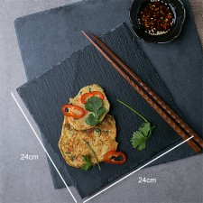 BIGSPOON Square Natural Stone Serving Plate Board 24cm Black Slate Cheese Tray Food Server with Anti-Scratch Foam Bumpers Stand