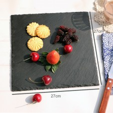 BIGSPOON Square Natural Stone Serving Plate Board 27cm Black Slate Cheese Tray Food Server with Anti-Scratch Foam Bumpers Stand