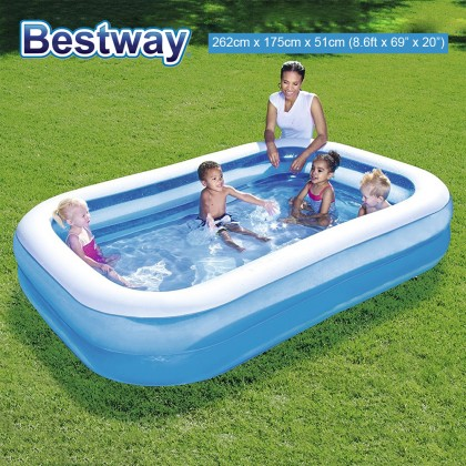 BESTWAY 8.6ft 262cm Rectangular Extra Large Inflatable Family Swimming Pool Toy Model 54006