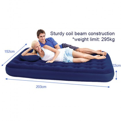 BESTWAY 80 inch 203cm Premium Portable Inflatable Queen Double Air Bed Mattress with 2 Pillow and Hand Manual Pump Model 67374