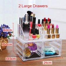 BIGSPOON 2 Large Drawers Clear Acrylic Cosmetic Rack Organizer Jewelry Make Up Case Container Lipstick Display Holder Stand Makeup Brushes and Sets Eyeshadow Moisturizers Nail Polish Storage Box