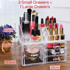 BIGSPOON 3 Small Drawers + 1 Large Drawer Clear Acrylic Cosmetic Rack Organizer Jewelry Make Up Case Container Lipstick Display Holder Stand Makeup Brushes and Sets Eyeshadow Moisturizers Nail Polish Storage Box