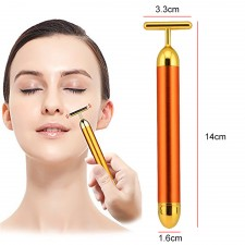 BIGSPOON 24K Gold T-shape Beauty Bar Vibrate Pulse Massager V Face Lifting Slimming Firming Anti-Aging Anti-Wrinkles Facial Care Skin Tightening