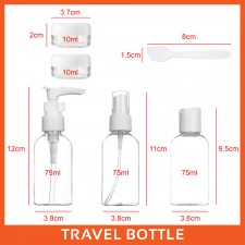 BIGSPOON 6-Pcs Set Transparent Portable Travel Bottles 75ml Refillable Spray Bottle Pump Bottle Lotion Liquid Dispenser with Zipper Bag Pouch