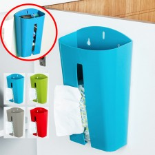 BIGSPOON Wall Mounted Grocery Bag Holder Plastic Bags Dispenser Tissue Box Storage Organizer Box (Blue)