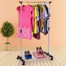 BIGSPOON Single Pole Garment Rack Adjustable Clothes Drying Hanger Stand Laundry Drying Rack