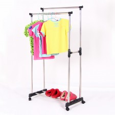 BIGSPOON Double Pole Garment Rack Adjustable Clothes Drying Hanger Stand Laundry Drying Rack