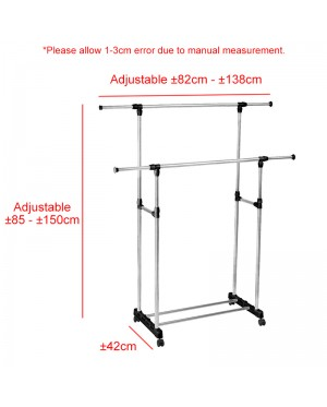 BIGSPOON Double Pole Garment Rack Adjustable Clothes Drying Hanger Stand Laundry Drying Rack Extendable Length
