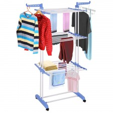 BIGSPOON 3-Tier Foldable Layer Clothes Rack Garment Hanging Laundry Drying Rack