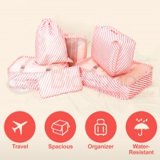 BIGSPOON 6 in 1 Travel Luggage Bag Clothes Organizer Storage Packing Cube Drawstring Shoe Pouch Cosmetic Bag Set (Pink Stripe)