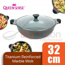 QUEENSENSE Titanium Reinforced 32cm Frying Wok Cooking Pan Ceramic Die Casting with Glass Lid
