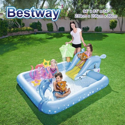 BESTWAY Fantastic Aquarium Play Pool Center with Slide Water Sprayer Inflatable Pool Model 53052