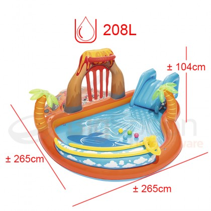 BESTWAY Lava Lagoon Play Center with Slide Water Sprayer Inflatable Pool Model 53069