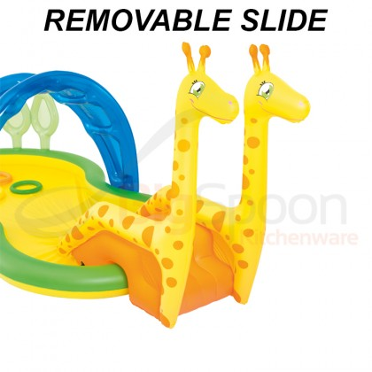 BESTWAY Zoo Pool Play Center with Slide Water Sprayer Inflatable Pool Model 53060