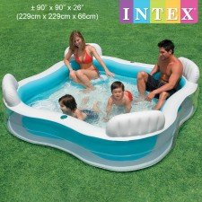 INTEX Inflatable Swimming Pool Swim Center Family Lounge Pool with Built-In Seats and Backrests Model 56475