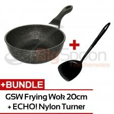 GSW Titanium Granit FerroTherm Frying Wok - 20cm + ECHO! Nylon Turner Glossy Solid Spatula