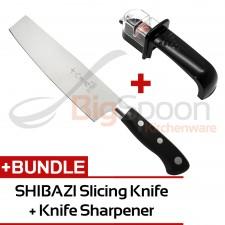 [KNIFE STARTER KIT] SHIBAZI Chinese Slicing Knife [H310] + NAKAJIMA Easy Knife Sharpener with Anti-Slip Base for Stainless Steel Knives NKS300-438C (Black)