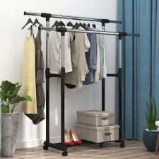 BIGSPOON Double Pole Garment Rack Adjustable Clothes Drying Hanger Stand Laundry Drying Rack Extendable Length (Black)