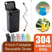 BIGSPOON 304 Stainless Steel Reusable Foldable Straw 3-Pcs Set 9 inch Straw Set Straw Brush Eco Friendly