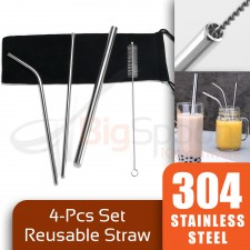 BIGSPOON 304 Stainless Steel Straw 4-Pcs Set Reusable Straw Bubble Tea Straw Brush with Straw Bag Eco Friendly