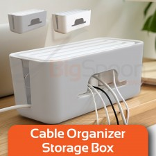 BIGSPOON Cable Organizer Box Cable Management Box Storage with Phone Holder Case Wire Power Strip Management for USB Extension Plug