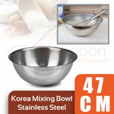 [Made in KOREA] Stainless Steel Mixing Bowl 47cm Multipurpose Salad Bowl for Mixing Egg Dough