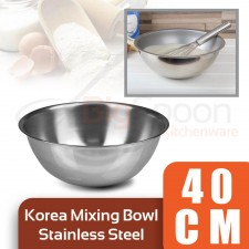 [Made in KOREA] Stainless Steel Mixing Bowl 40cm Multipurpose Salad Bowl for Mixing Egg Dough