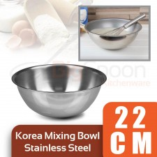 [Made in KOREA] Stainless Steel Mixing Bowl 22cm Multipurpose Salad Bowl for Mixing Egg Dough