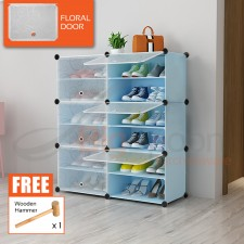 BIGSPOON 12-Slot Plastic Shoe Rack Cabinet Shoes Storage Rack DIY Shoe Rack Organizer with 6 Doors Waterproof Stackable Shoe Box Multipurpose Shoes Shelf Transparent Adjustable Cube Cabinet Anti-Dust Free Wooden Hammer
